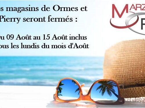 Horaires d'été pour Ormes et Pierry